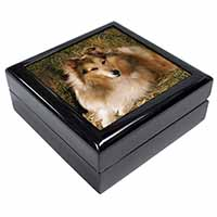Sheltie on Hay Bale Keepsake/Jewellery Box Christmas Gift