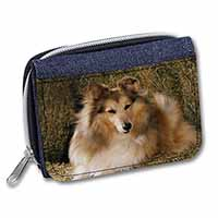 Sheltie on Hay Bale Girls/Ladies Denim Purse Wallet Christmas Gift Idea