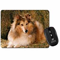 Sheltie on Hay Bale Computer Mouse Mat Birthday Gift Idea