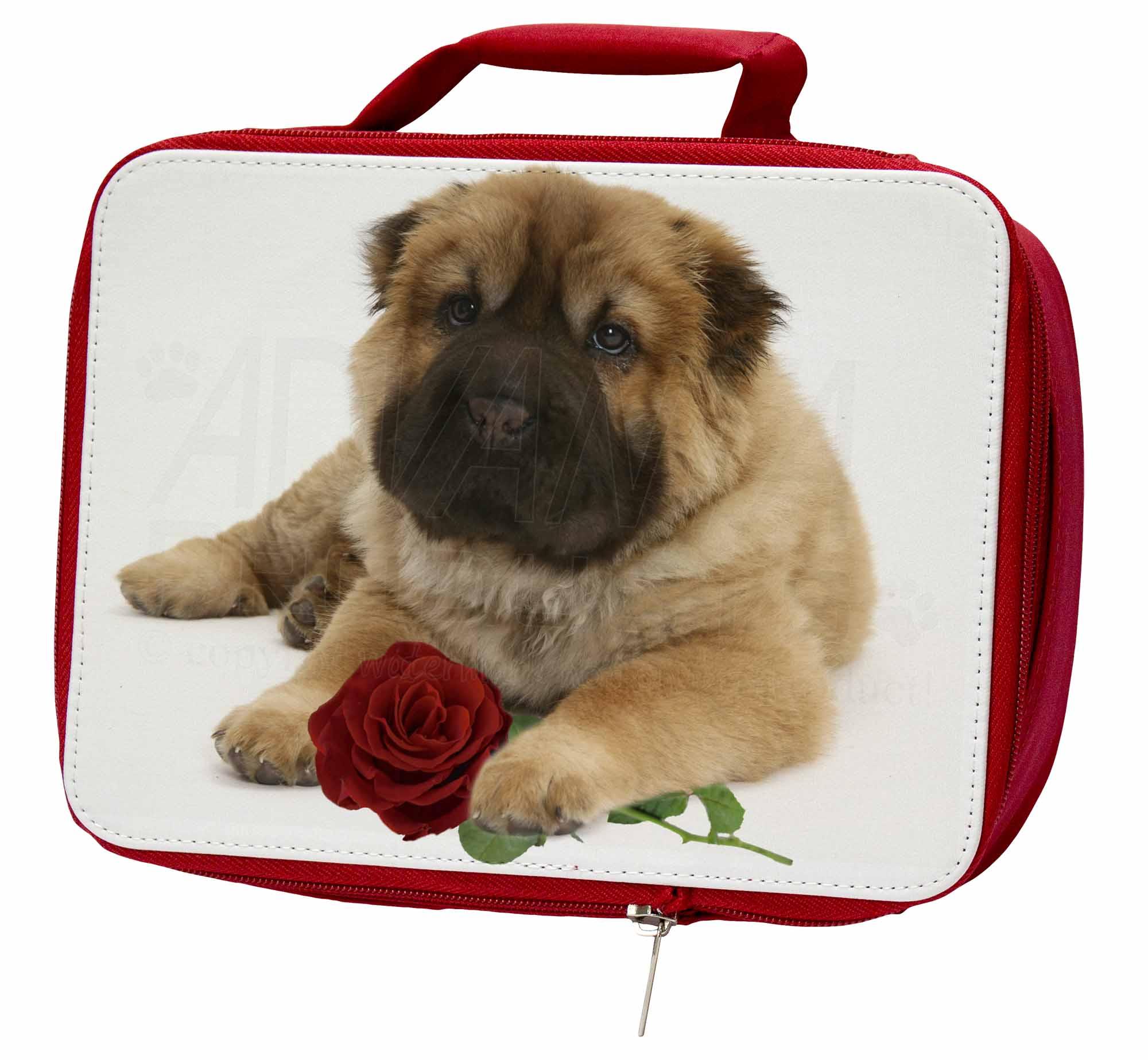 shar pei hund mit roter rose isolierte schule jausenbox picknick ebay. Black Bedroom Furniture Sets. Home Design Ideas