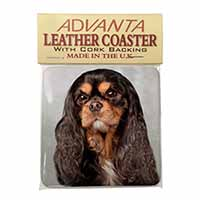 Black and Tan King Charles Spaniel Single Leather Photo Coaster Perfect Gift