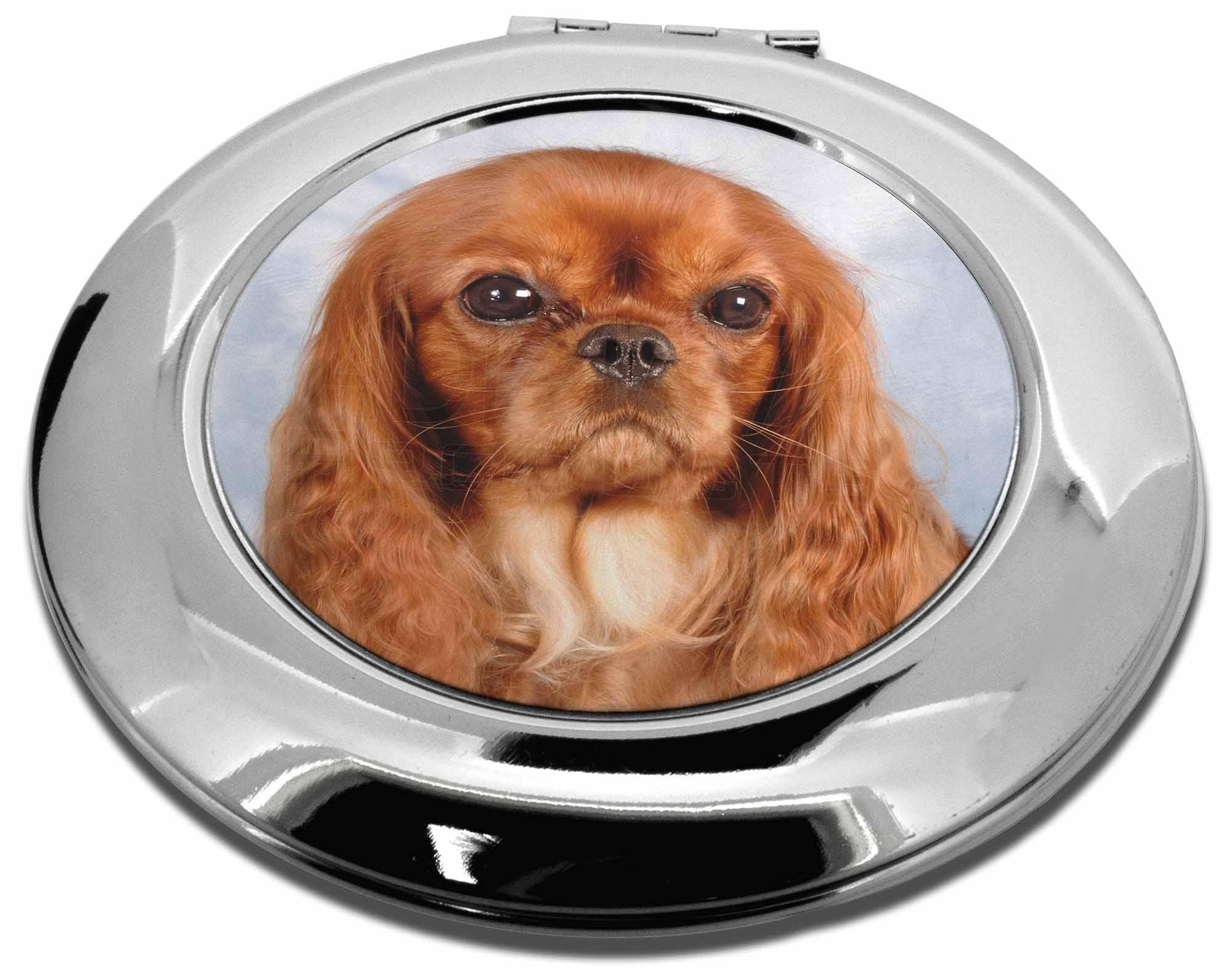 Cavalier King Charles Spaniel Dog Square Edge Metal Compact Mirror MRCAV1