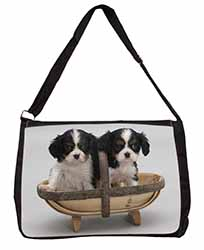 King Charles Spaniel Puppy Dogs Large Black Laptop Shoulder Bag School/College