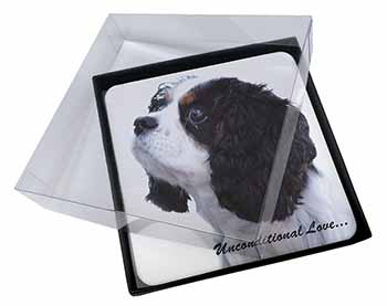 4x Tri-Col King Charles-With Love Picture Table Coasters Set in Gift Box