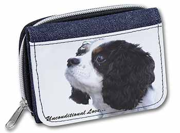 Tri-Col King Charles-With Love Girls/Ladies Denim Purse Wallet Birthday Gift Ide