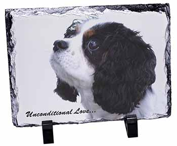 Tri-Col King Charles-With Love Photo Slate Photo Ornament Gift