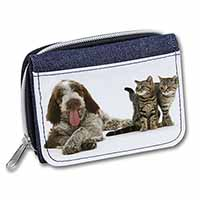 Italian Spinone Dog and Kittens Girls/Ladies Denim Purse Wallet Birthday Gift Id