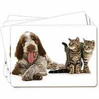 Italian Spinone Dog and Kittens Picture Placemats in Gift Box