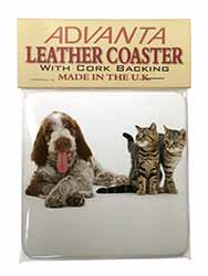 Italian Spinone Dog and Kittens Single Leather Photo Coaster Perfect Gift