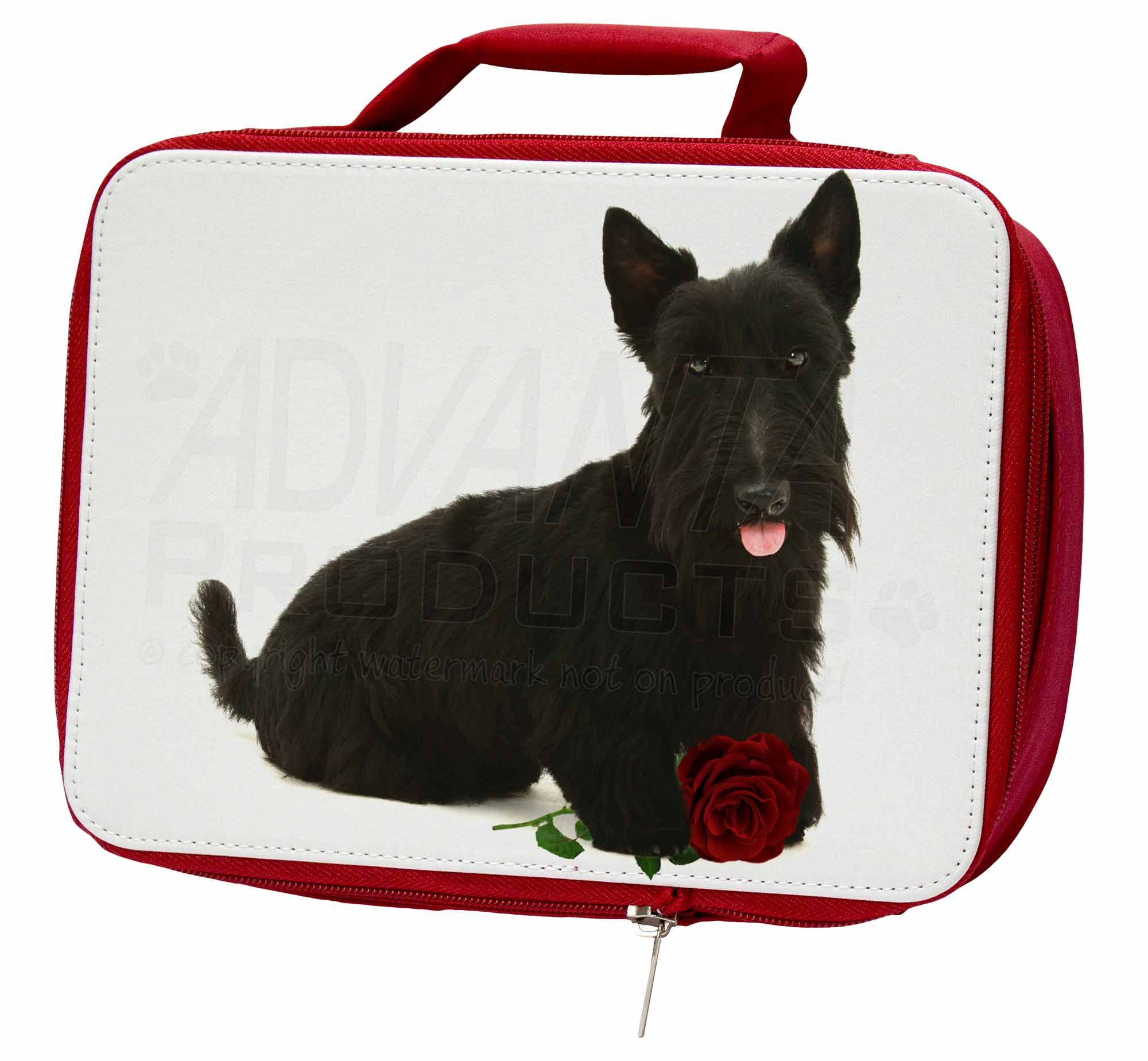 Scottish Terrier with Red Rose Insulated Red School Box/Picnic, Lunch Box/Picnic, School AD-ST2RLBR b50b10