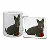 Scottish Terrier with Red Rose Mug+Coaster Christmas/Birthday Gift Idea