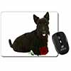 Scottish Terrier with Red Rose Computer Mouse Mat Christmas Gift Idea