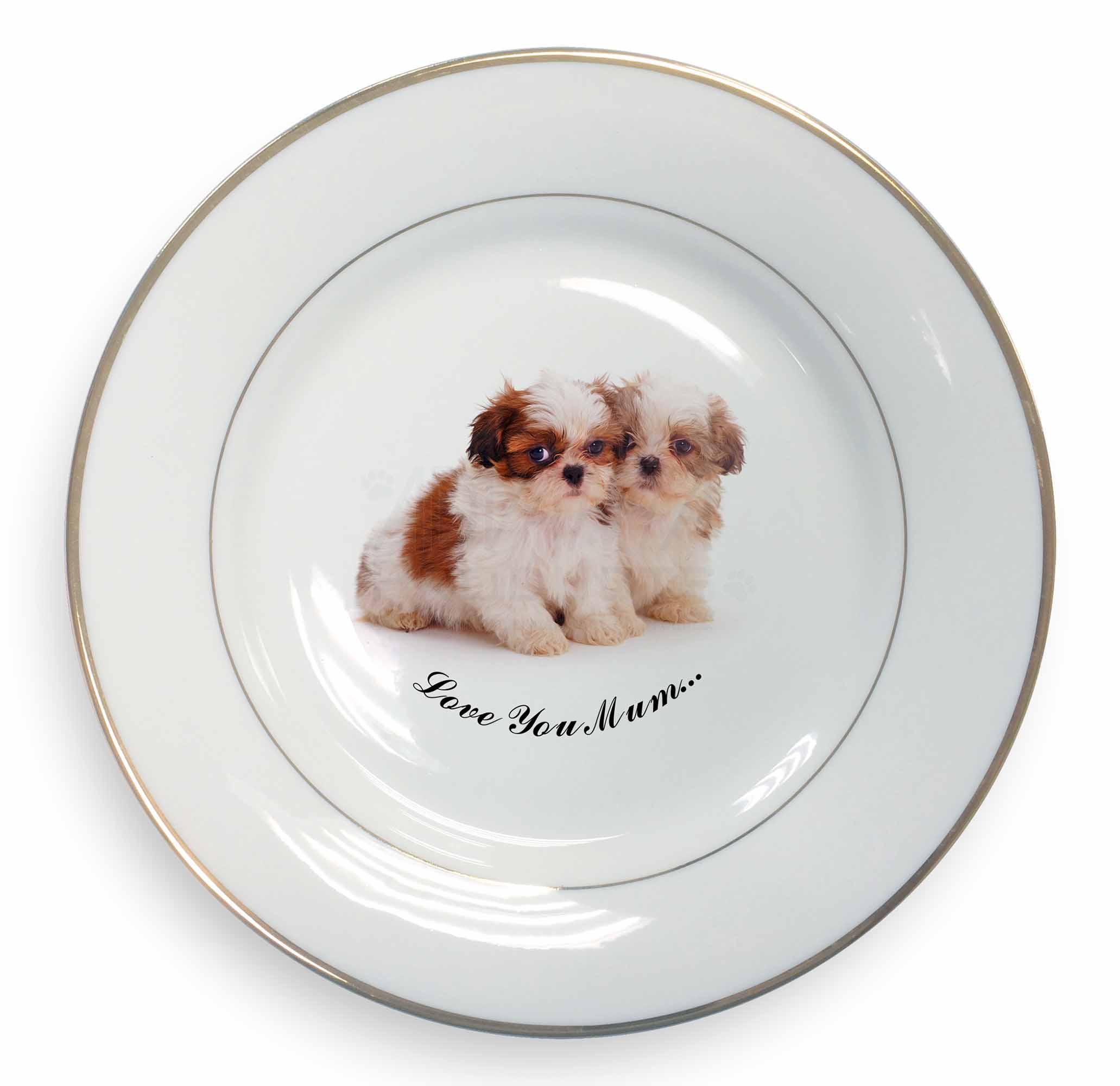 AD-SZ2lymPL Two Shih-Tzu /'Love You Mum/' Gold Rim Plate in Gift Box Christmas Pr