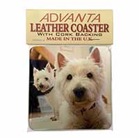 West Highland Terrier Dogs Single Leather Photo Coaster Animal Breed Gift