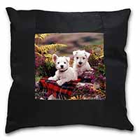 West Highland Terriers Black Border Satin Feel Scatter Cushion