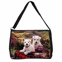 West Highland Terriers Large Black Laptop Shoulder Bag School/College