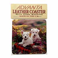 West Highland Terriers Single Leather Photo Coaster Perfect Gift