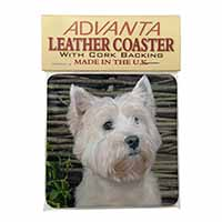 West Highland Terrier Dog Single Leather Photo Coaster Animal Breed Gift