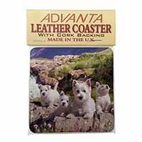 West Highland Terrier Dogs Single Leather Photo Coaster Perfect Gift