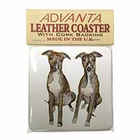 Whippet Dogs Single Leather Photo Coaster Perfect Gift