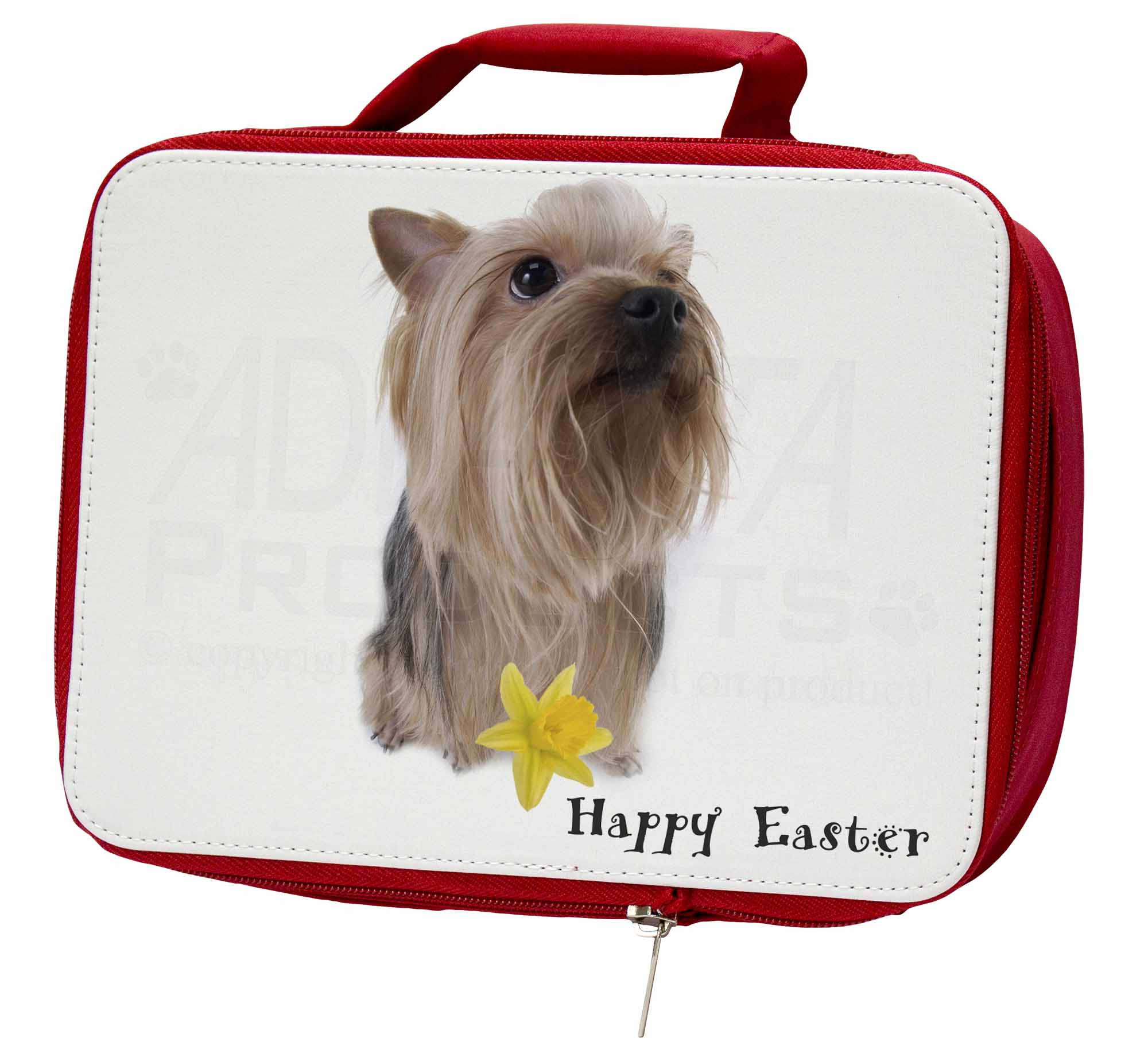 'Happy Easter' Yorkie Insulated Red School Lunch BoxPicnic Bag, ADY2DA1LBR