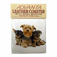 Yorkshire Terrier Dogs Single Leather Photo Coaster Perfect Gift