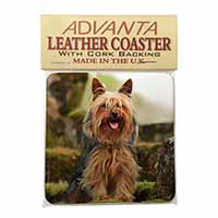 Yorkshire Terrier Dog Single Leather Photo Coaster Animal Breed Gift