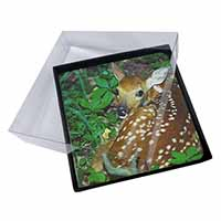 4x Baby Bambi Deer Picture Table Coasters Set in Gift Box