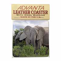 African Elephants Single Leather Photo Coaster Perfect Gift