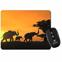 Elephants Silhouette Computer Mouse Mat Birthday Gift Idea