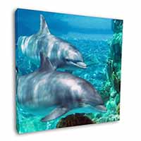 "Dolphins 12""x12"" Canvas Wall Art Picture Print"
