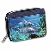 Dolphins Girls/Ladies Denim Purse Wallet Birthday Gift Idea