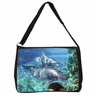 Dolphins Large Black Laptop Shoulder Bag School/College