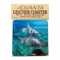 Dolphins Single Leather Photo Coaster Perfect Gift
