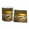 Gold Sea Sunset Dolphins Mug+Coaster Christmas/Birthday Gift Idea