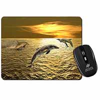 Gold Sea Sunset Dolphins Computer Mouse Mat Birthday Gift Idea
