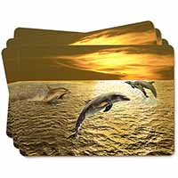 Gold Sea Sunset Dolphins Picture Placemats in Gift Box