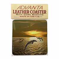 Gold Sea Sunset Dolphins Single Leather Photo Coaster Perfect Gift