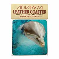 Dolphin Close-Up Single Leather Photo Coaster Perfect Gift