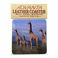 Giraffes Single Leather Photo Coaster Perfect Gift