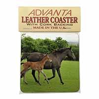 Mare with Newborn Foal Single Leather Photo Coaster Perfect Gift