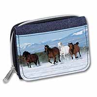 Running Horses in Snow Girls/Ladies Denim Purse Wallet Birthday Gift Idea