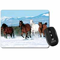 Running Horses in Snow Computer Mouse Mat Birthday Gift Idea