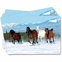 Running Horses in Snow Picture Placemats in Gift Box