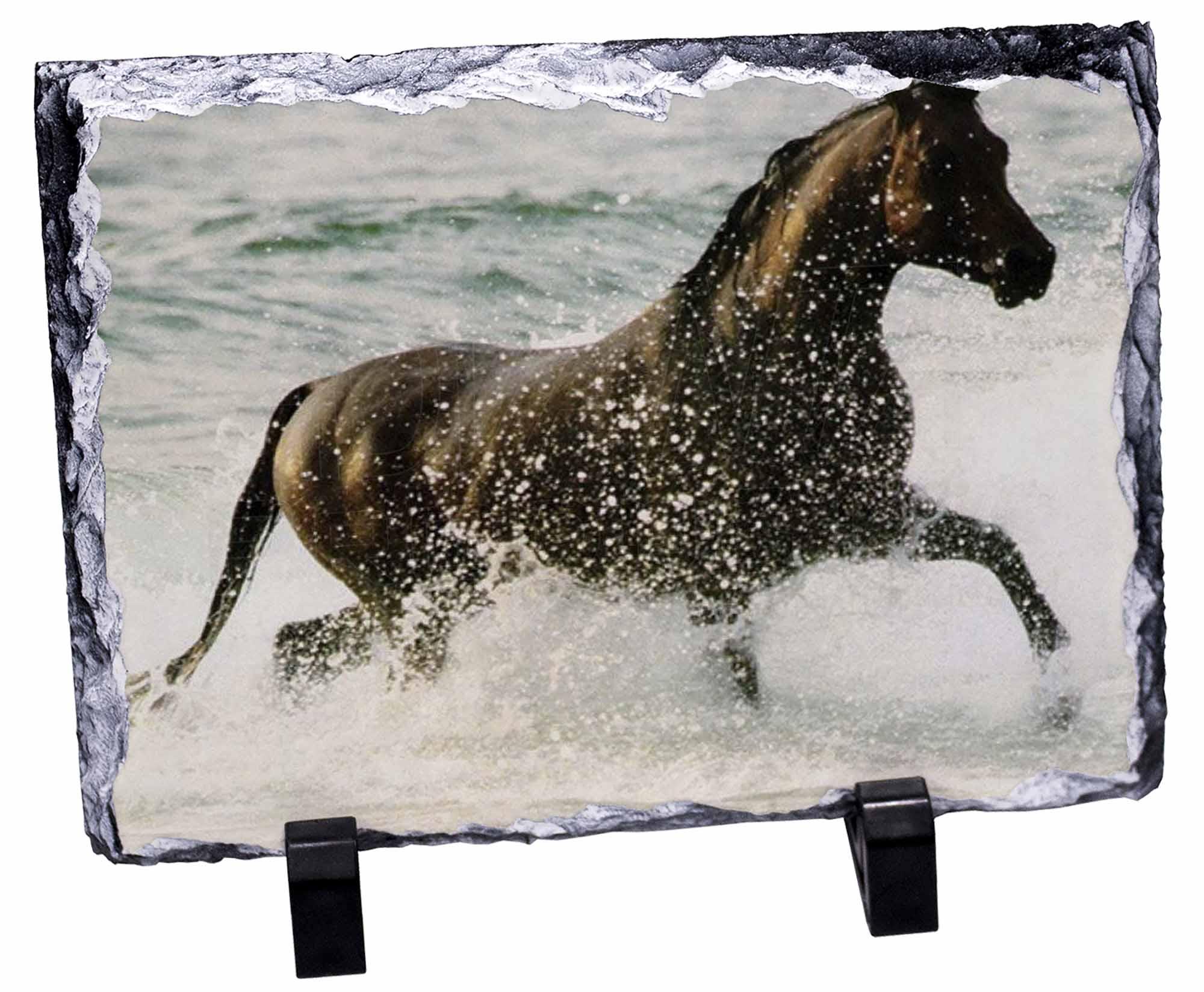 Black Horse in Sea Photo Slate Christmas Gift Ornament AH-2SL