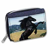 Rearing Black Stallion Girls/Ladies Denim Purse Wallet Birthday Gift Idea