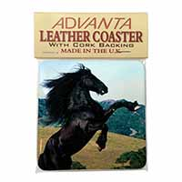 Rearing Black Stallion Single Leather Photo Coaster Perfect Gift