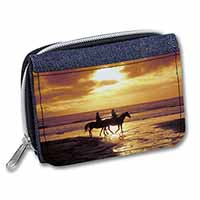Sunset Horse Riding Girls/Ladies Denim Purse Wallet Christmas Gift Idea
