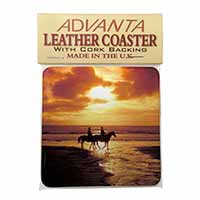Sunset Horse Riding Single Leather Photo Coaster Animal Breed Gift