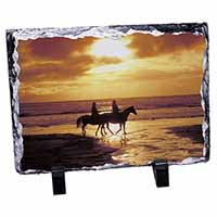Sunset Horse Riding Photo Slate Christmas Gift Ornament